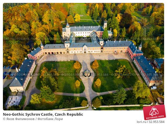 Neo-Gothic Sychrov Castle, Czech Republic (2019 год). Стоковое фото, фотограф Яков Филимонов / Фотобанк Лори