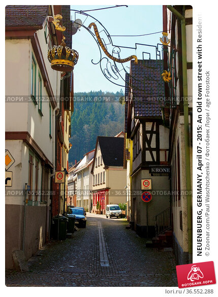 NEUENBUERG, GERMANY, April 07 - 2015: An Old town street with Residential... Стоковое фото, фотограф Zoonar.com/Paul Waschtschenko / age Fotostock / Фотобанк Лори