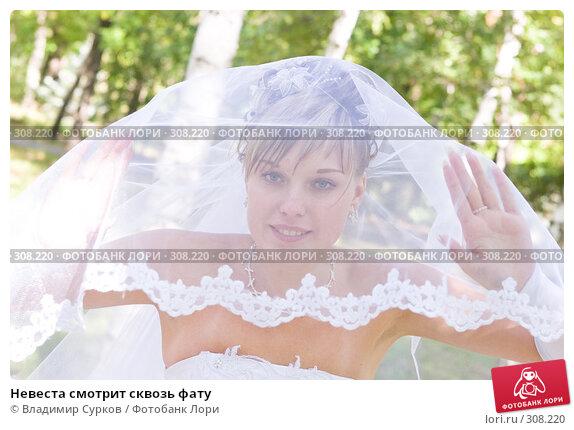 Невеста смотрит сквозь фату, фото № 308220, снято 15 июля 2007 г. (c) Владимир Сурков / Фотобанк Лори