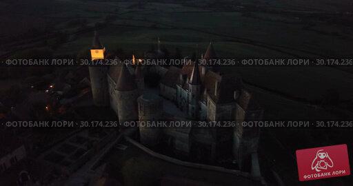 Купить «Night view of medieval castle Chateau de Chateauneuf, France», видеоролик № 30174236, снято 24 октября 2018 г. (c) Яков Филимонов / Фотобанк Лори
