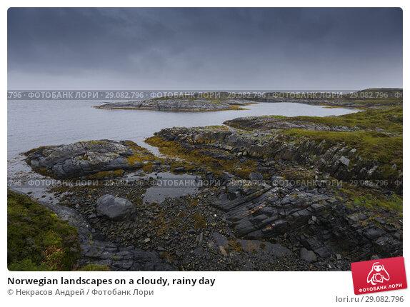 Купить «Norwegian landscapes on a cloudy, rainy day», фото № 29082796, снято 10 августа 2018 г. (c) Некрасов Андрей / Фотобанк Лори