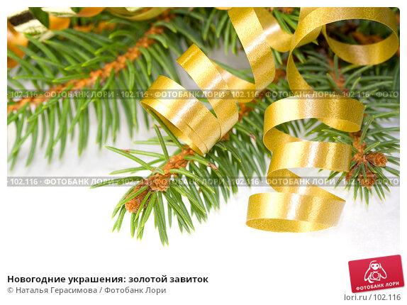 Новогодние украшения: золотой завиток, фото № 102116, снято 23 июля 2017 г. (c) Наталья Герасимова / Фотобанк Лори