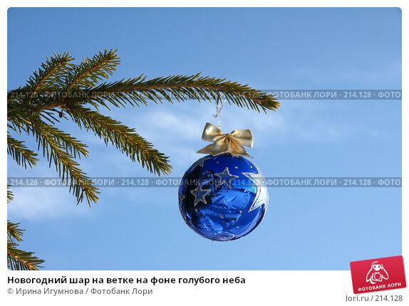 Новогодний шар на ветке на фоне голубого неба, фото № 214128, снято 2 декабря 2007 г. (c) Ирина Игумнова / Фотобанк Лори
