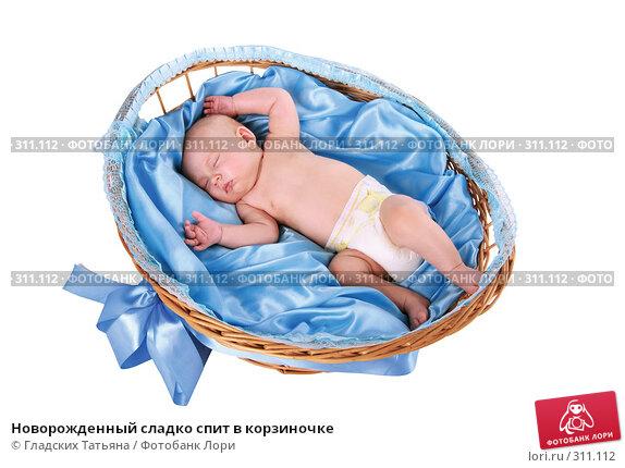 Новорожденный сладко спит в корзиночке, фото № 311112, снято 24 апреля 2007 г. (c) Гладских Татьяна / Фотобанк Лори