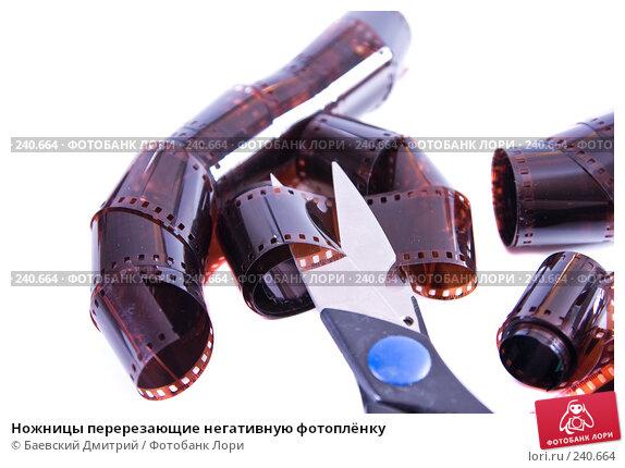 Ножницы перерезающие негативную фотоплёнку, фото № 240664, снято 31 марта 2008 г. (c) Баевский Дмитрий / Фотобанк Лори