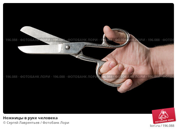Ножницы в руке человека, фото № 196088, снято 6 февраля 2008 г. (c) Сергей Лаврентьев / Фотобанк Лори