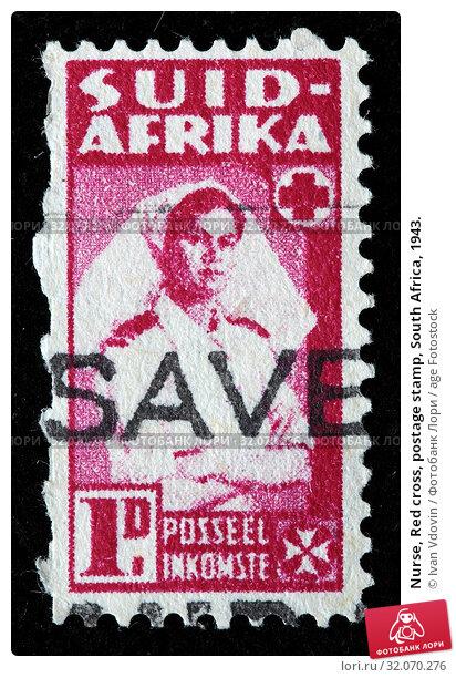 Nurse, Red cross, postage stamp, South Africa, 1943. (2010 год). Редакционное фото, фотограф Ivan Vdovin / age Fotostock / Фотобанк Лори