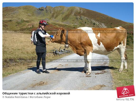 Общение туристки с альпийской коровой, эксклюзивное фото № 92776, снято 13 сентября 2007 г. (c) Natalia Nemtseva / Фотобанк Лори