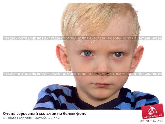 Очень серьезный мальчик на белом фоне, фото № 167236, снято 13 ноября 2007 г. (c) Ольга Сапегина / Фотобанк Лори