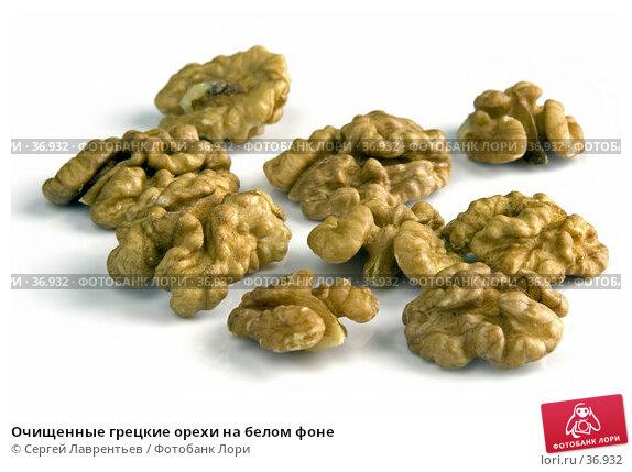 Купить «Очищенные грецкие орехи на белом фоне», фото № 36932, снято 14 декабря 2017 г. (c) Сергей Лаврентьев / Фотобанк Лори
