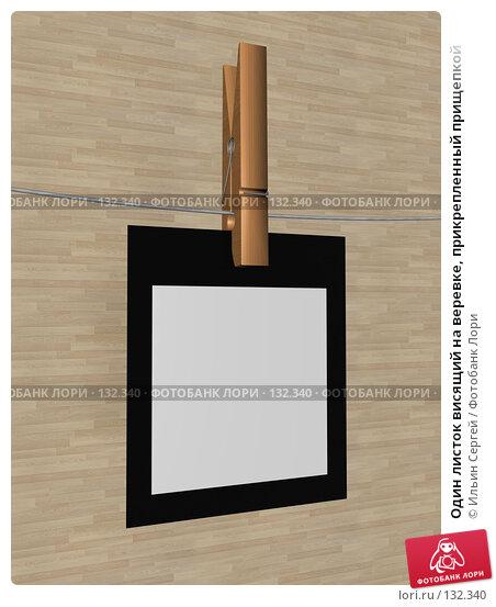 Один листок висящий на веревке, прикрепленный прищепкой, иллюстрация № 132340 (c) Ильин Сергей / Фотобанк Лори
