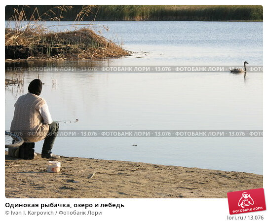 Одинокая рыбачка, озеро и лебедь, фото № 13076, снято 27 сентября 2006 г. (c) Ivan I. Karpovich / Фотобанк Лори