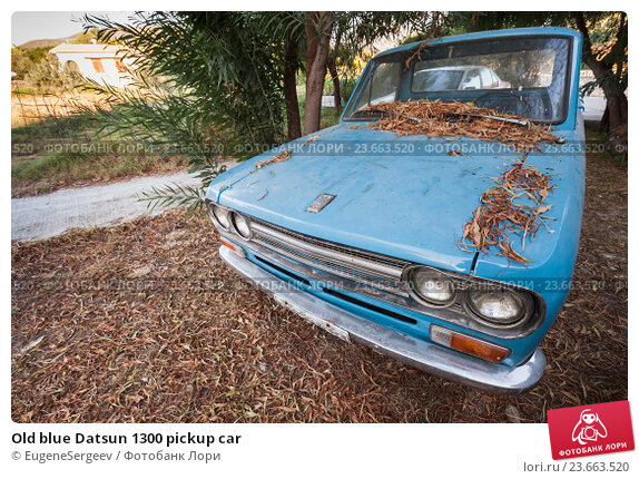 Купить «Old blue Datsun 1300 pickup car», фото № 23663520, снято 16 августа 2016 г. (c) EugeneSergeev / Фотобанк Лори