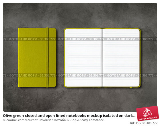 Olive green closed and open lined notebooks mockup isolated on dark... Стоковое фото, фотограф Zoonar.com/Laurent Davoust / easy Fotostock / Фотобанк Лори
