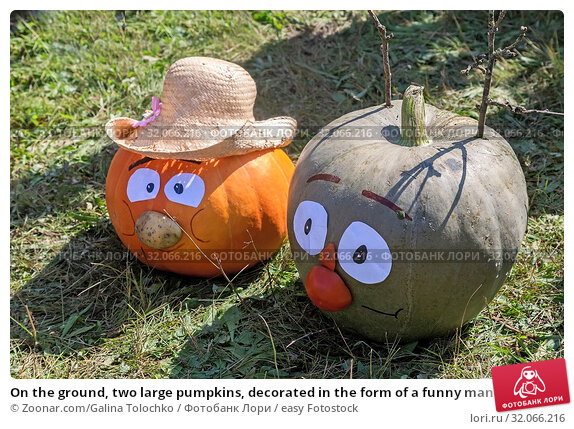 On the ground, two large pumpkins, decorated in the form of a funny man's head in a hat. Стоковое фото, фотограф Zoonar.com/Galina Tolochko / easy Fotostock / Фотобанк Лори