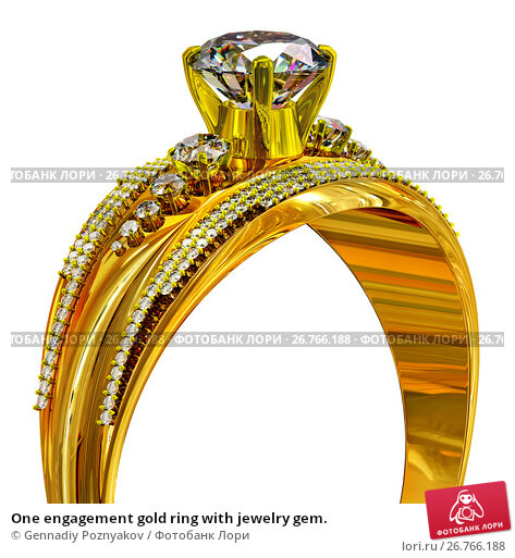 Купить «One engagement gold ring with jewelry gem.», иллюстрация № 26766188 (c) Gennadiy Poznyakov / Фотобанк Лори
