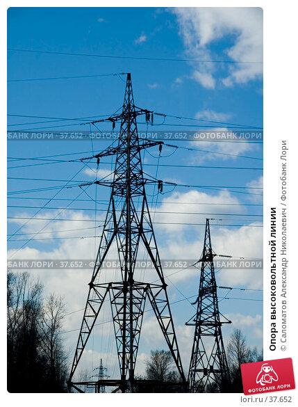 Опора высоковольтной линии, фото № 37652, снято 29 апреля 2007 г. (c) Саломатов Александр Николаевич / Фотобанк Лори