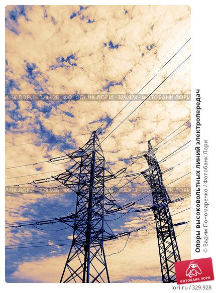 Опоры высоковольтных линий электропередач, фото № 329928, снято 15 июня 2008 г. (c) Вадим Пономаренко / Фотобанк Лори