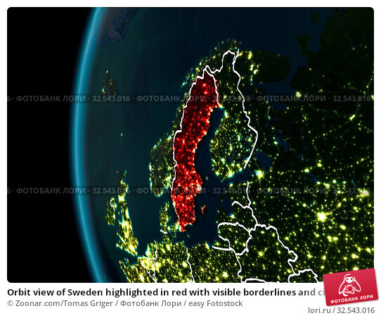 Купить «Orbit view of Sweden highlighted in red with visible borderlines and city lights on planet Earth at night. 3D illustration. Elements of this image furnished by NASA.», фото № 32543016, снято 9 декабря 2019 г. (c) easy Fotostock / Фотобанк Лори