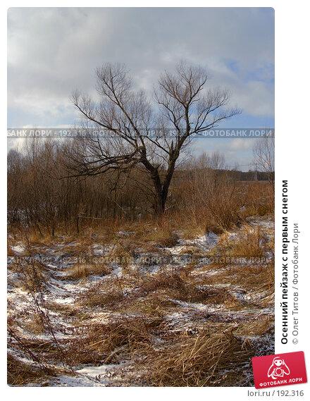 Купить «Осенний пейзаж с первым снегом», фото № 192316, снято 5 ноября 2006 г. (c) Олег Титов / Фотобанк Лори