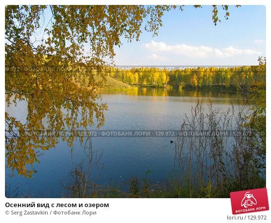 Купить «Осенний вид с лесом и озером», фото № 129972, снято 19 сентября 2004 г. (c) Serg Zastavkin / Фотобанк Лори