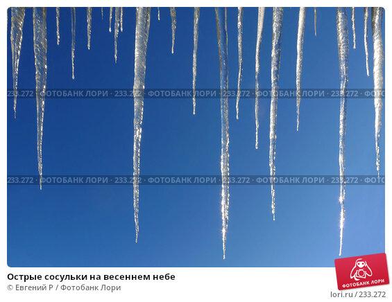 Купить «Острые сосульки на весеннем небе», фото № 233272, снято 22 марта 2008 г. (c) Евгений Р / Фотобанк Лори