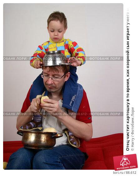 Отец чистит картошку в то время, как озорной сын играет у него на плечах, фото № 88612, снято 4 июня 2007 г. (c) Harry / Фотобанк Лори