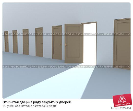 Открытая дверь в ряду закрытых дверей, иллюстрация № 235664 (c) Лукиянова Наталья / Фотобанк Лори