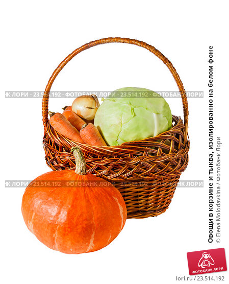 Купить «Овощи в корзине и тыква, изолированно на белом фоне», фото № 23514192, снято 4 сентября 2016 г. (c) Elena Molodavkina / Фотобанк Лори