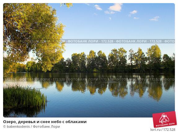 Купить «Озеро, деревья и снее небо с облаками», фото № 172528, снято 11 сентября 2007 г. (c) Бабенко Денис Юрьевич / Фотобанк Лори