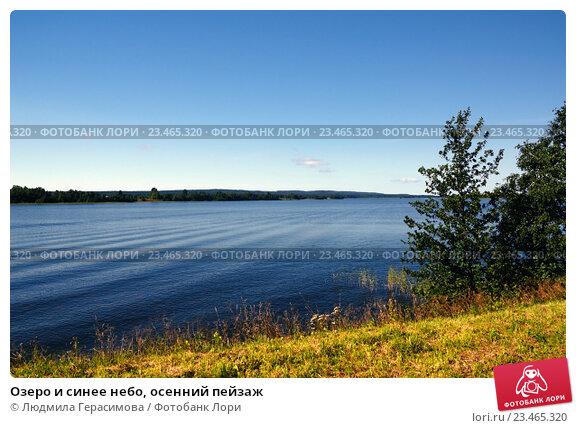 Озеро и синее небо, осенний пейзаж. Стоковое фото, фотограф Людмила Герасимова / Фотобанк Лори