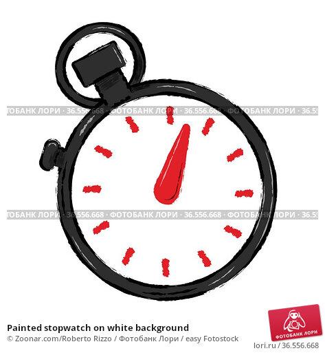 Painted stopwatch on white background. Стоковое фото, фотограф Zoonar.com/Roberto Rizzo / easy Fotostock / Фотобанк Лори
