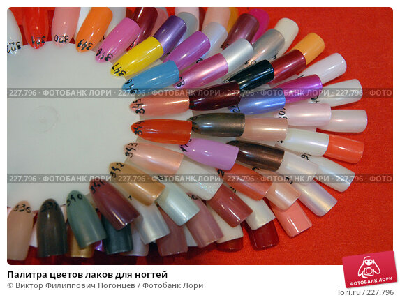 Купить «Палитра цветов лаков для ногтей», фото № 227796, снято 29 февраля 2008 г. (c) Виктор Филиппович Погонцев / Фотобанк Лори