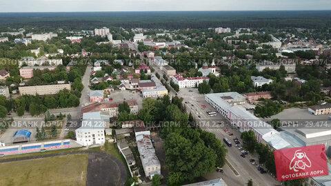 Купить «Panoramic aerial view of district of Gus-Khrustalny, Vladimir region, Russia», видеоролик № 29474228, снято 27 июня 2018 г. (c) Яков Филимонов / Фотобанк Лори