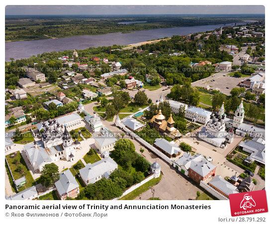 Купить «Panoramic aerial view of Trinity and Annunciation Monasteries», фото № 28791292, снято 13 июня 2018 г. (c) Яков Филимонов / Фотобанк Лори