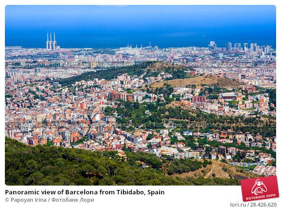 Купить «Panoramic view of Barcelona from Tibidabo, Spain», фото № 28426620, снято 13 июля 2016 г. (c) Papoyan Irina / Фотобанк Лори