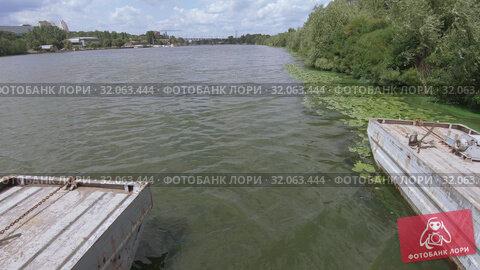 Pantone bridge over the river. Стоковое видео, видеограф Потийко Сергей / Фотобанк Лори