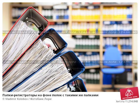 Купить «Папки-регистраторы на фоне полок с такими же папками», фото № 1214848, снято 4 октября 2009 г. (c) Vladimir Kolobov / Фотобанк Лори