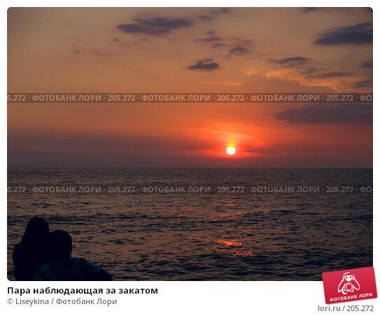 Пара наблюдающая за закатом, фото № 205272, снято 27 сентября 2006 г. (c) Liseykina / Фотобанк Лори