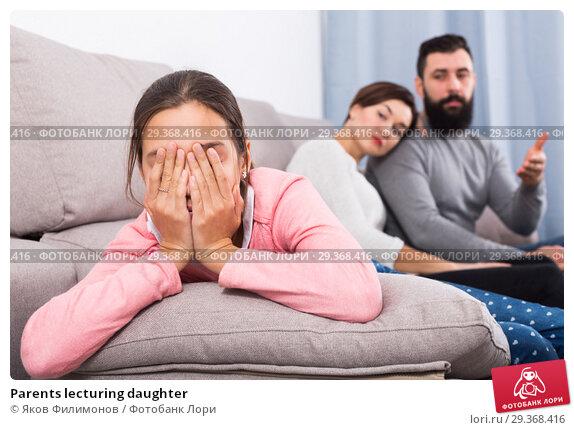 Купить «Parents lecturing daughter», фото № 29368416, снято 18 февраля 2019 г. (c) Яков Филимонов / Фотобанк Лори