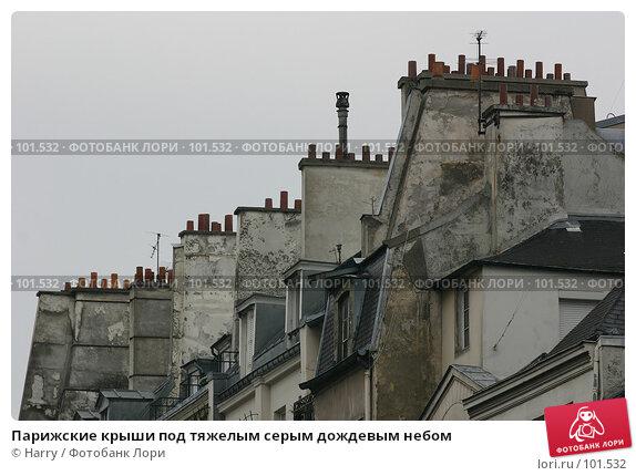 Парижские крыши под тяжелым серым дождевым небом, фото № 101532, снято 22 февраля 2006 г. (c) Harry / Фотобанк Лори