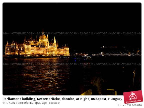 Parliament building, Kettenbrücke, danube, at night, Budapest, Hungary. Стоковое фото, фотограф R. Kunz / age Fotostock / Фотобанк Лори