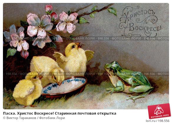 Пасха. Христос Воскресе! Старинная почтовая открытка, фото № 198556, снято 17 января 2017 г. (c) Виктор Тараканов / Фотобанк Лори