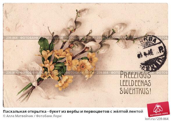 Пасхальная открытка - букет из вербы и первоцветов с жёлтой лентой, фото № 239864, снято 23 мая 2017 г. (c) Алла Матвейчик / Фотобанк Лори