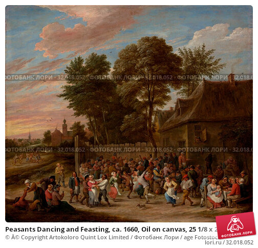 Купить «Peasants Dancing and Feasting, ca. 1660, Oil on canvas, 25 1/8 x 29 1/2 in. (63.8 x 74.9 cm), with added strip 26 7/8 x 29 1/2 in. (68.3 x 74.9 cm), Paintings...», фото № 32018052, снято 27 апреля 2017 г. (c) age Fotostock / Фотобанк Лори