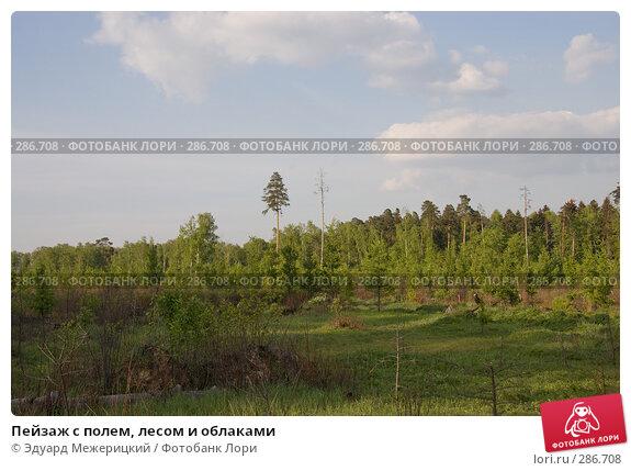 Пейзаж с полем, лесом и облаками, фото № 286708, снято 12 мая 2008 г. (c) Эдуард Межерицкий / Фотобанк Лори