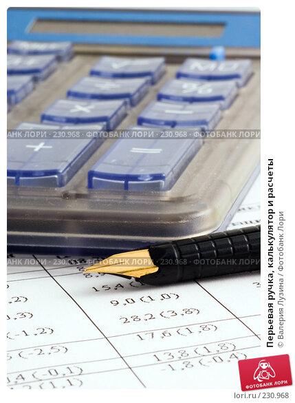 Перьевая ручка, калькулятор и расчеты, фото № 230968, снято 14 марта 2008 г. (c) Валерия Потапова / Фотобанк Лори