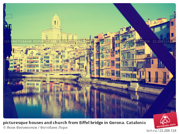 Купить «picturesque houses and church from Eiffel bridge in Gerona. Catalonia», фото № 23288124, снято 19 октября 2018 г. (c) Яков Филимонов / Фотобанк Лори