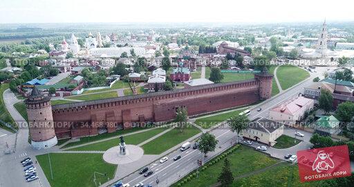Picturesque view from height of the Kolomna Kremlin. Kolomna city. Russia. Стоковое видео, видеограф Яков Филимонов / Фотобанк Лори