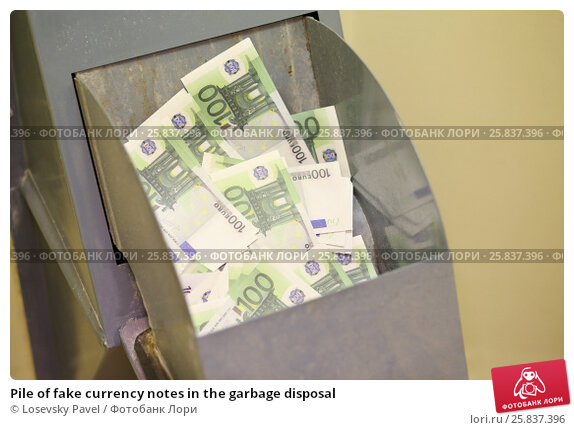 Купить «Pile of fake currency notes in the garbage disposal», фото № 25837396, снято 1 мая 2015 г. (c) Losevsky Pavel / Фотобанк Лори